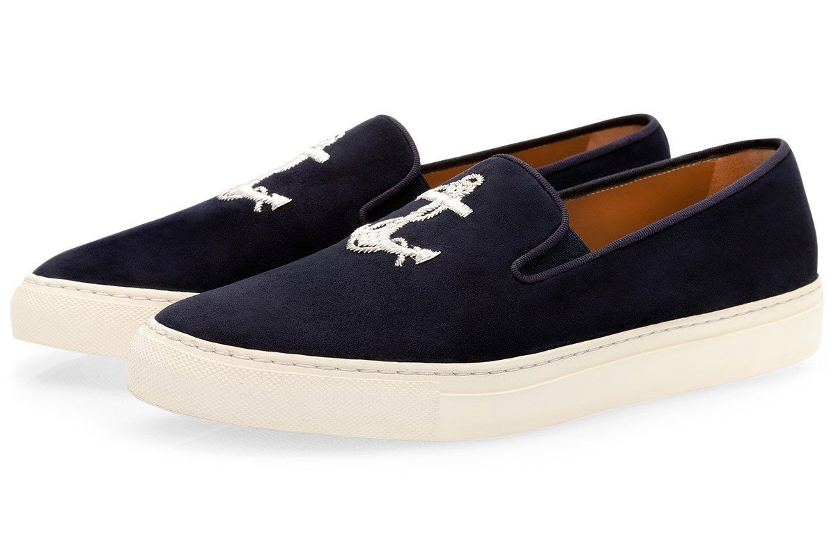 Navy blue suede slip on sneakers