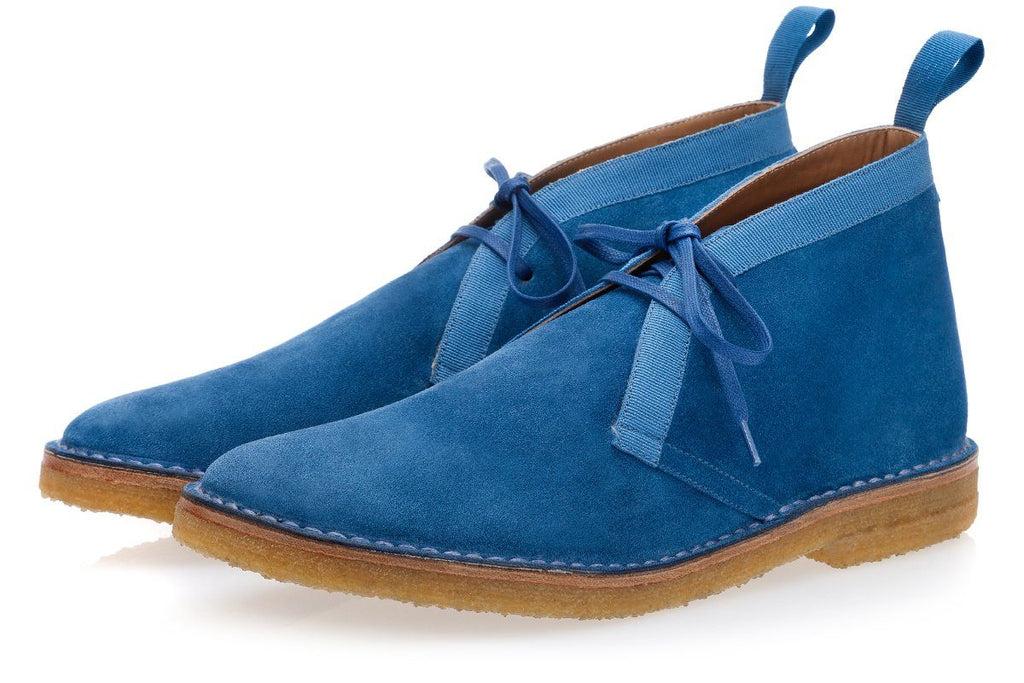 Handmade Avio blue suede desert boots men shoes