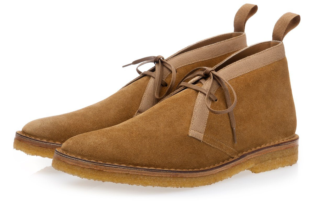 Handmade Caramel-colored suede desert boots men shoes