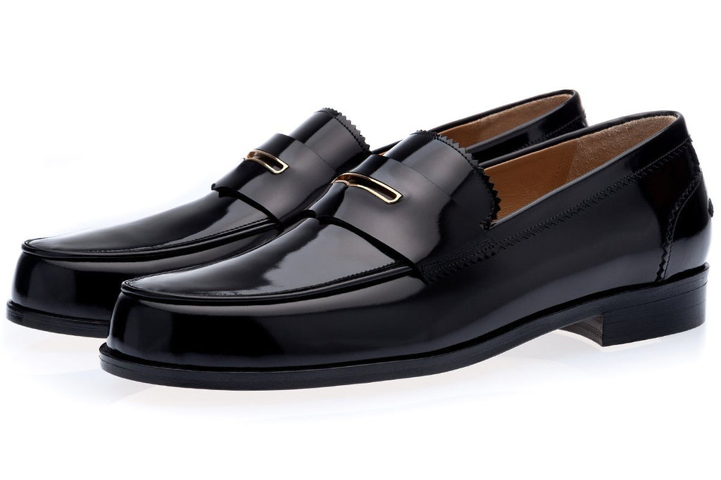 Black hand-polished calfskin penny loafers