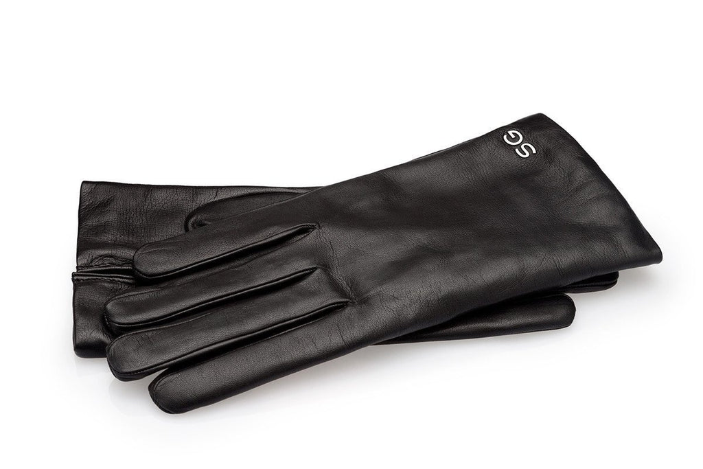 Handmade black kid leather gloves