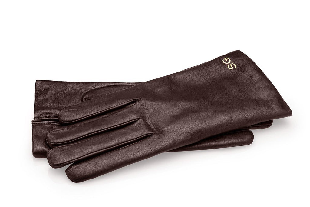Handmade dark brown kid leather gloves
