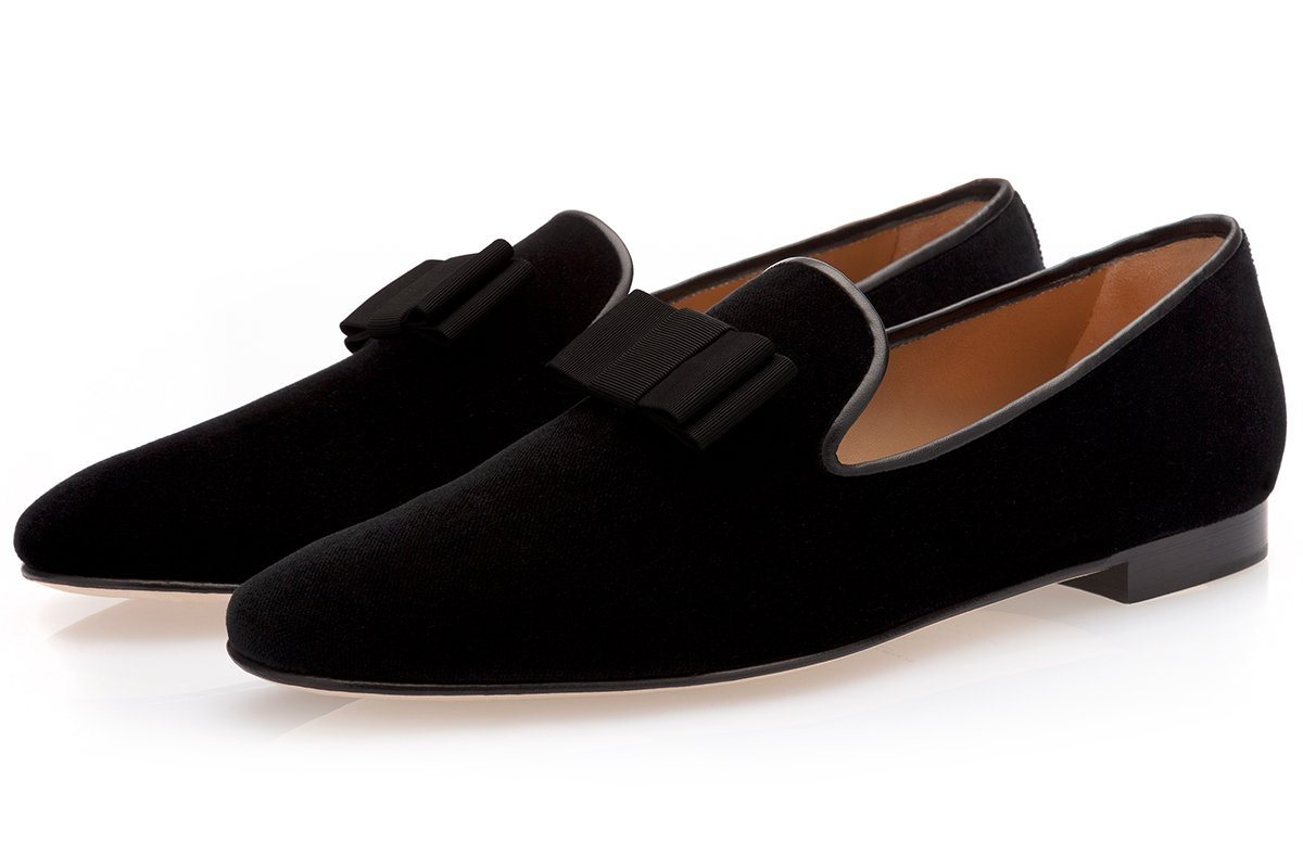 Black velvet slippers mens
