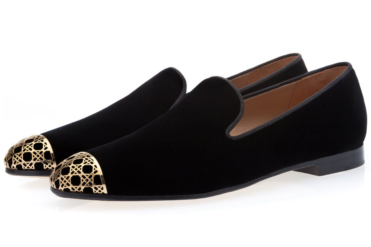 CARRAWAY VELOUR BLACK SLIPPERS