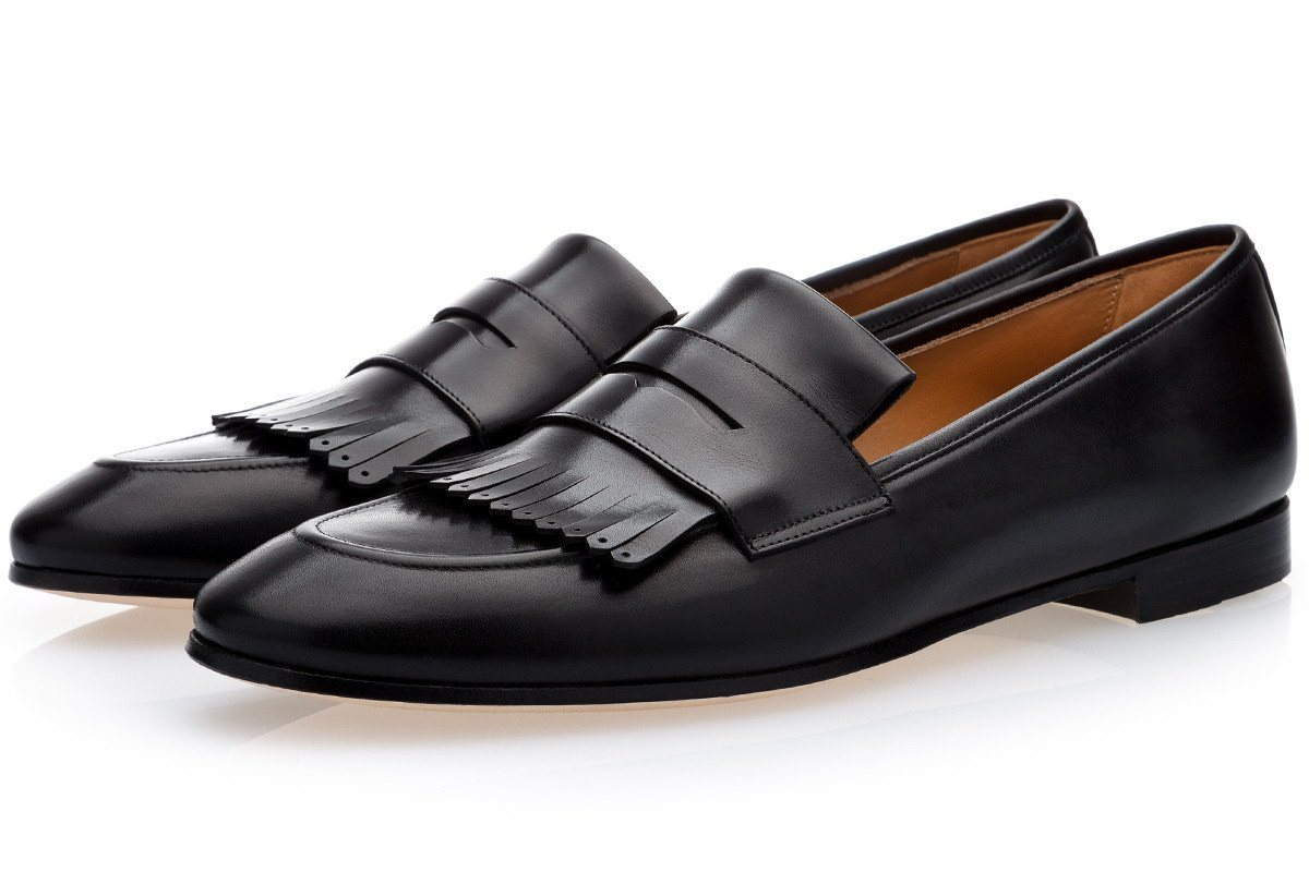 CESAR NAPPA BLACK LOAFERS Loafers Superglamourous