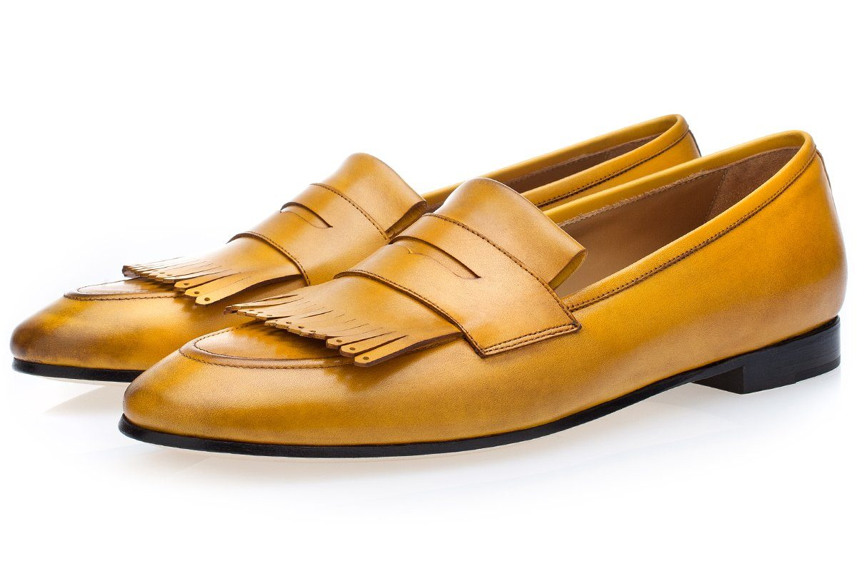 Mens fringe loafers yellow