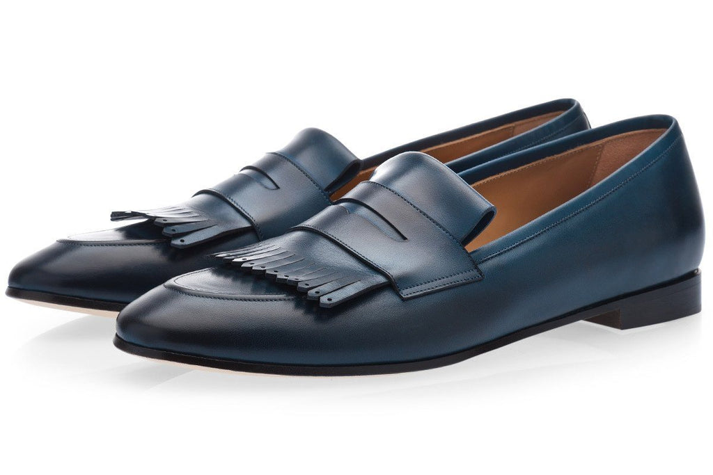 cesar nappa men fringe loafers navy blue
