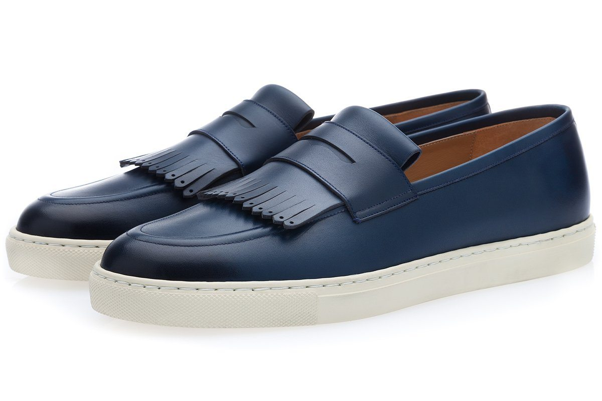 Fringe Loafer Sneakers blue navi men's