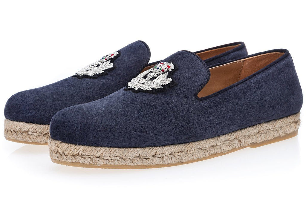 Blue navy suede espadrilles men