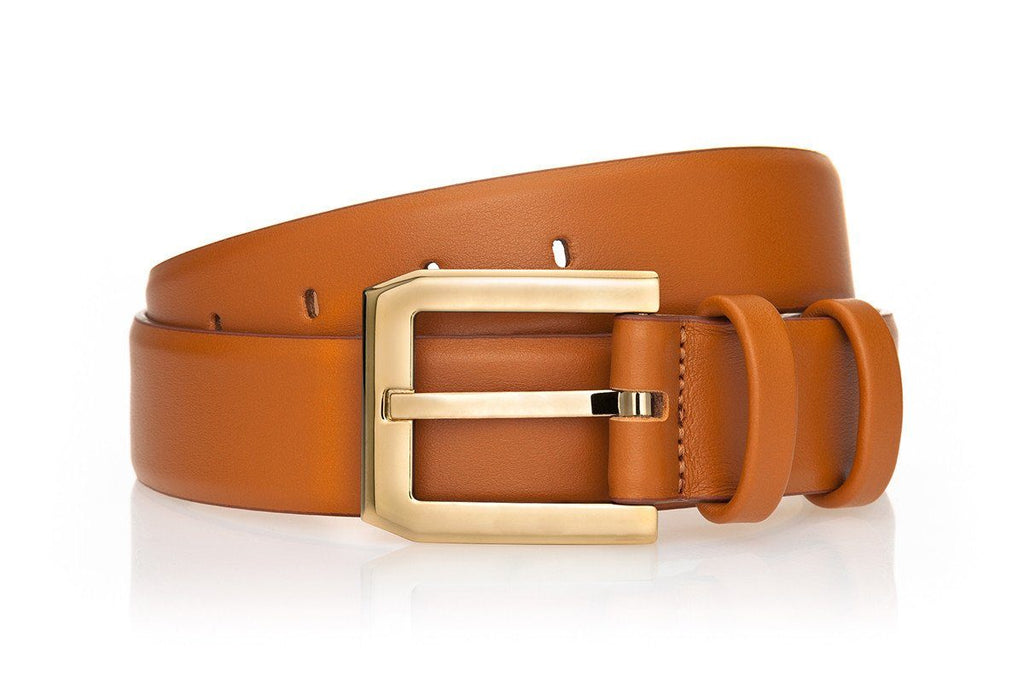 CREVEL NAPPA COGNAC BELT