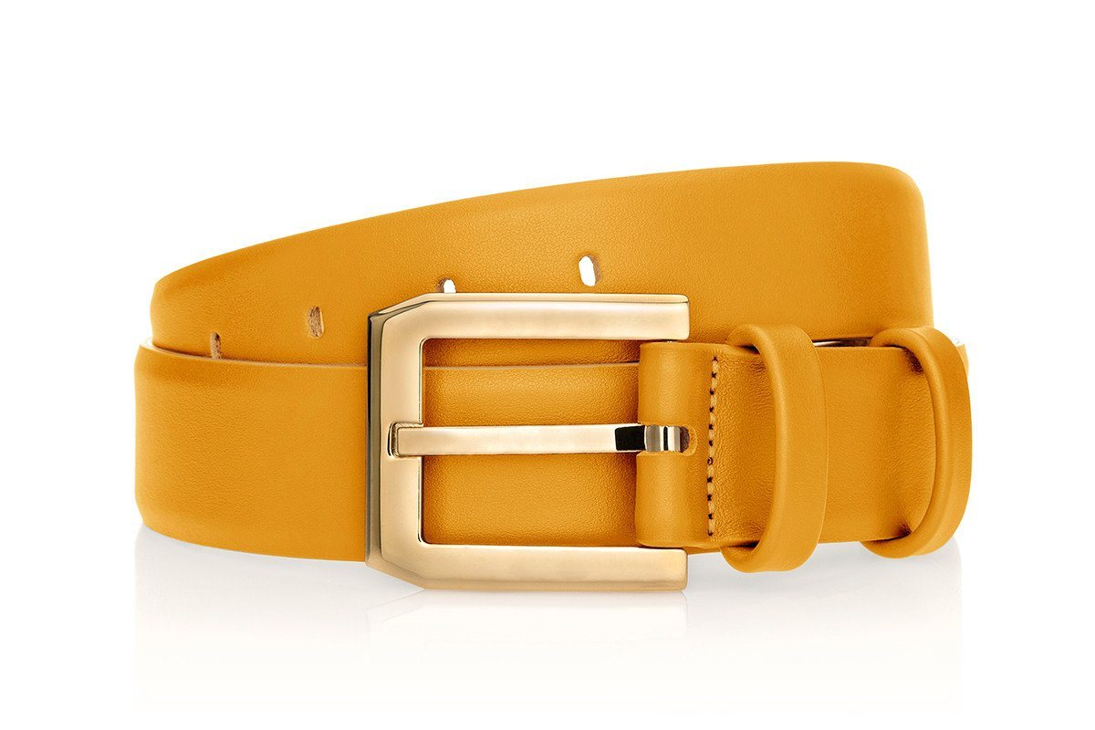 CREVEL NAPPA MUSTARD BELT