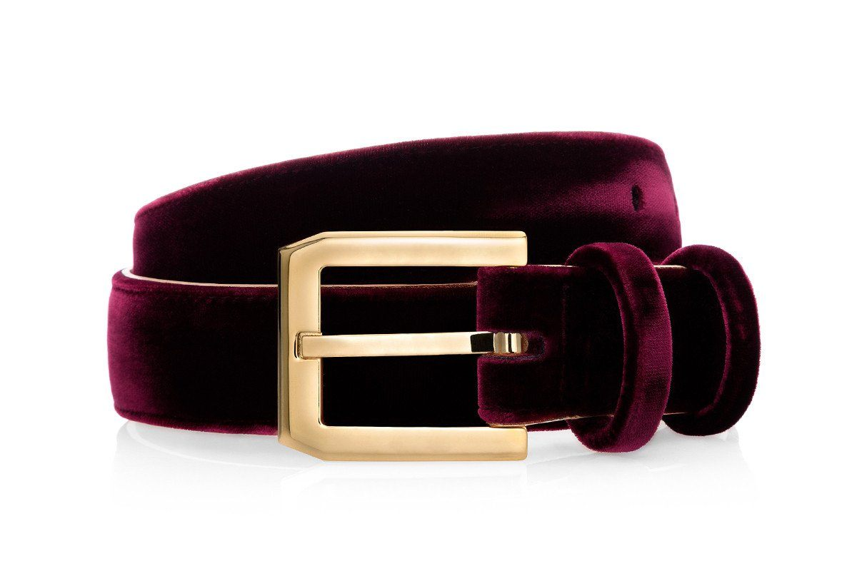 CREVEL VELOUR BURGUNDY BELT