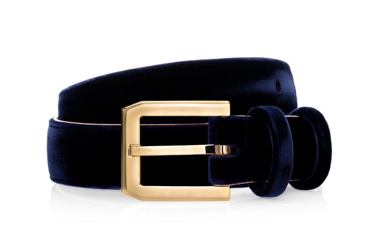 CREVEL VELOUR NAVY BELT Belts Superglamourous
