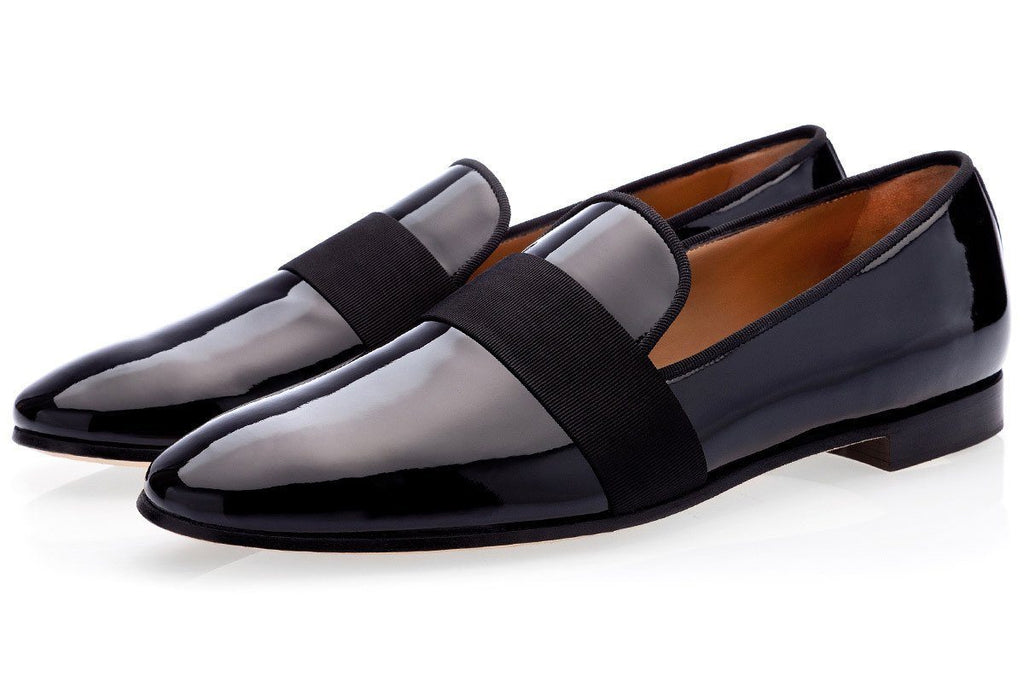 DADALOU PATENT BLACK SLIPPERS