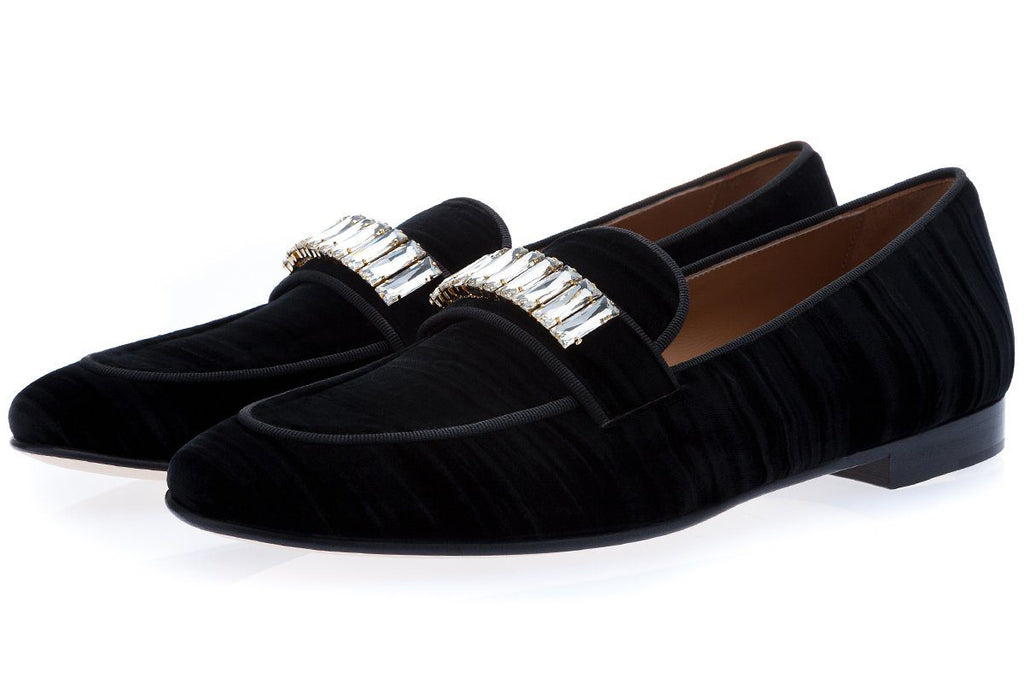 DANDAN WRINKLE BLACK SLIPPERS
