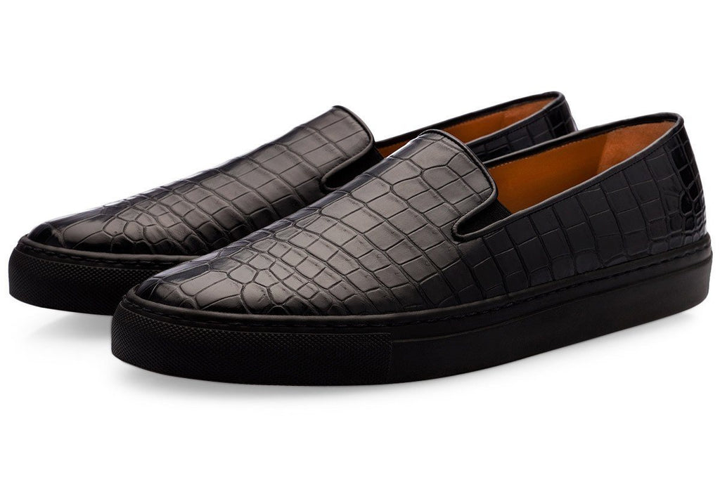 Black Crocodile Slip On Sneakers