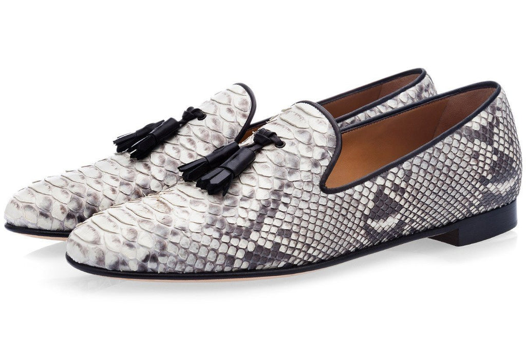 Grey python slippers loafers mens