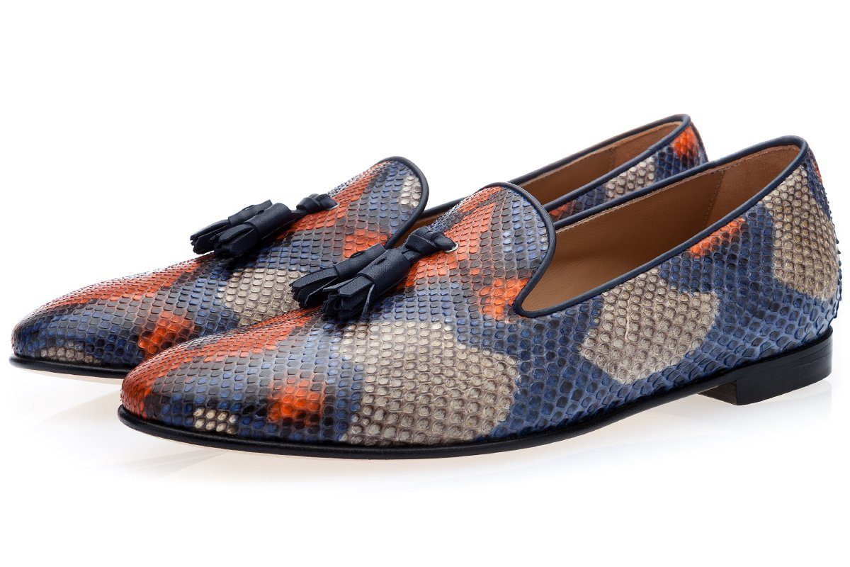 Multicolored genuine hand-painted python tassel loafer