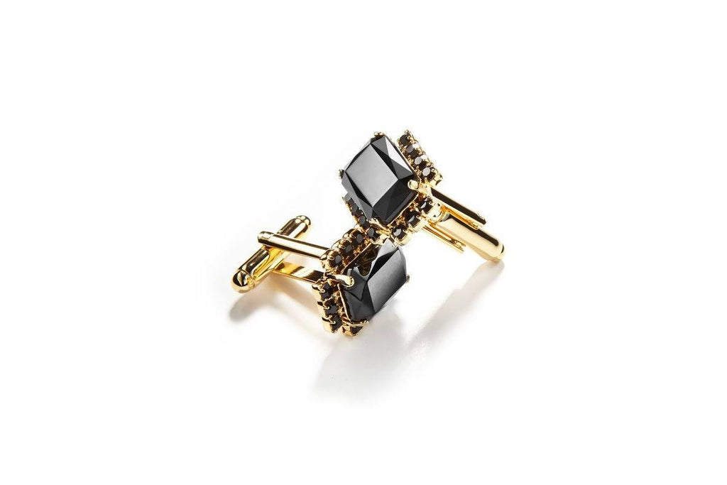 GILLES CRYSTAL BLACK CUFFLINKS