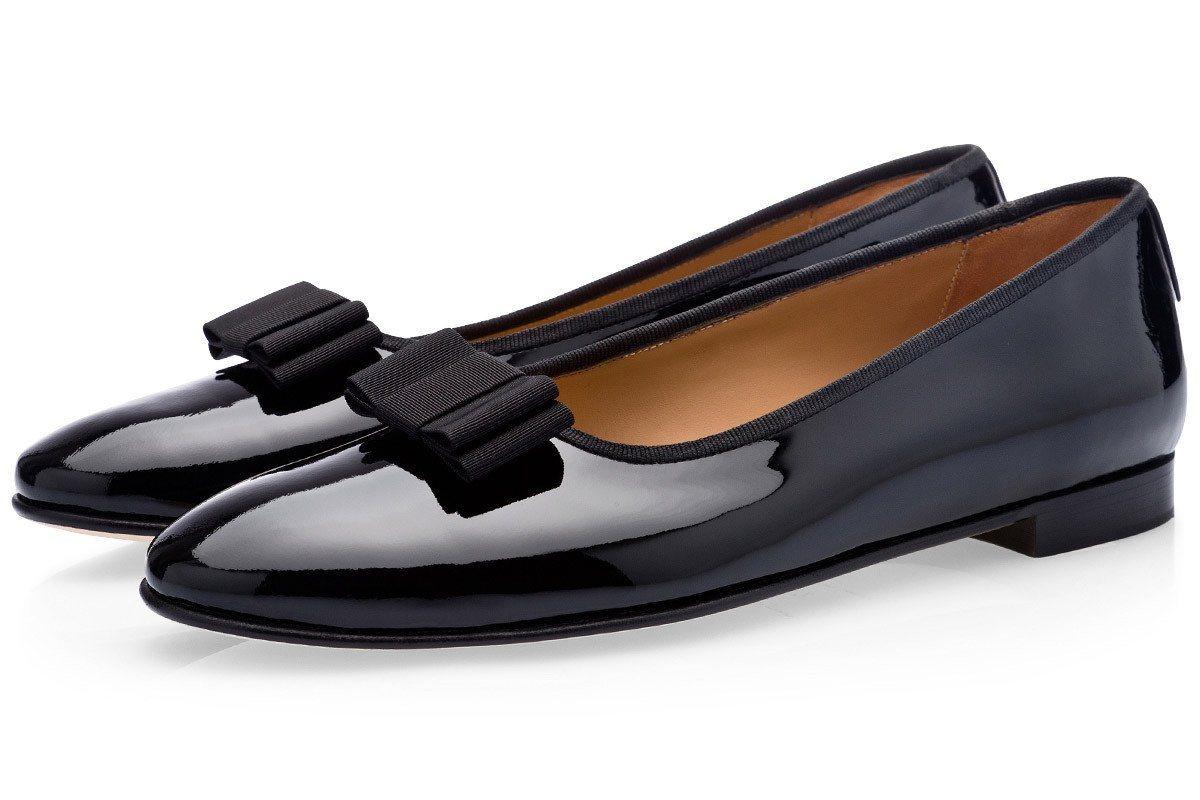 GRANDBAL PATENT BLACK SLIPPERS