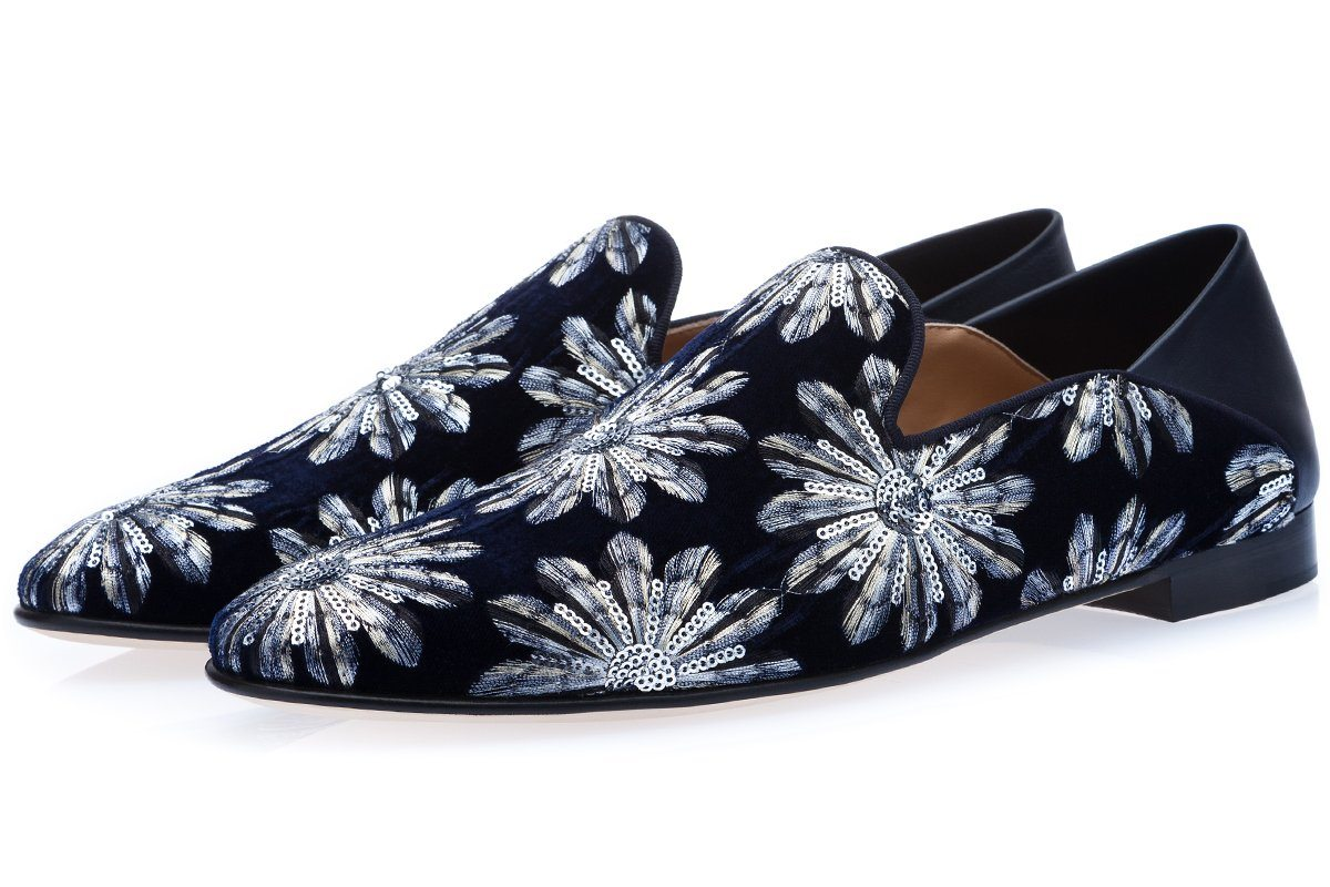 HARLEY VELIN NAVY DEMI-SLIPPERS