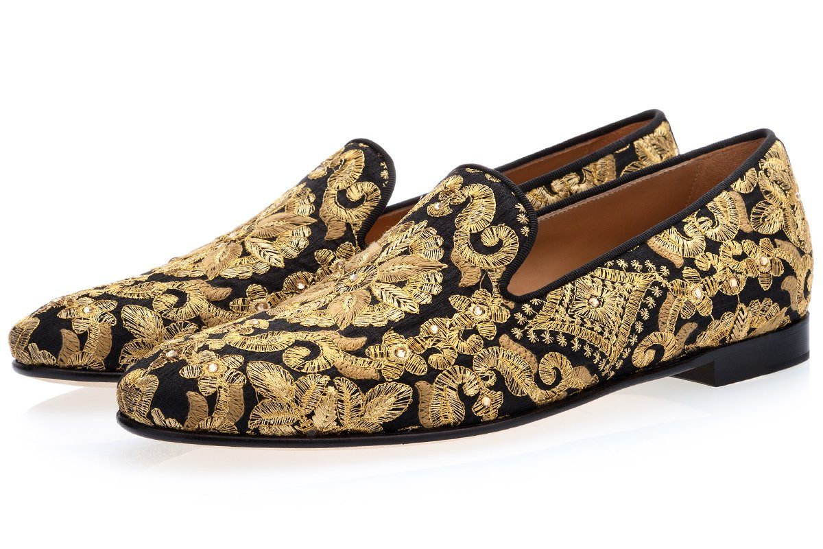 HARLEY YAMKA BLACK AND GOLD SLIPPERS