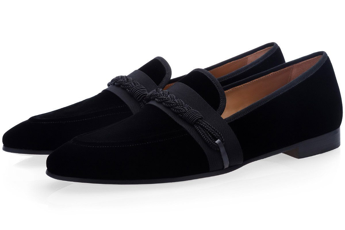 HONORÉ VELOUR BLACK SLIPPERS