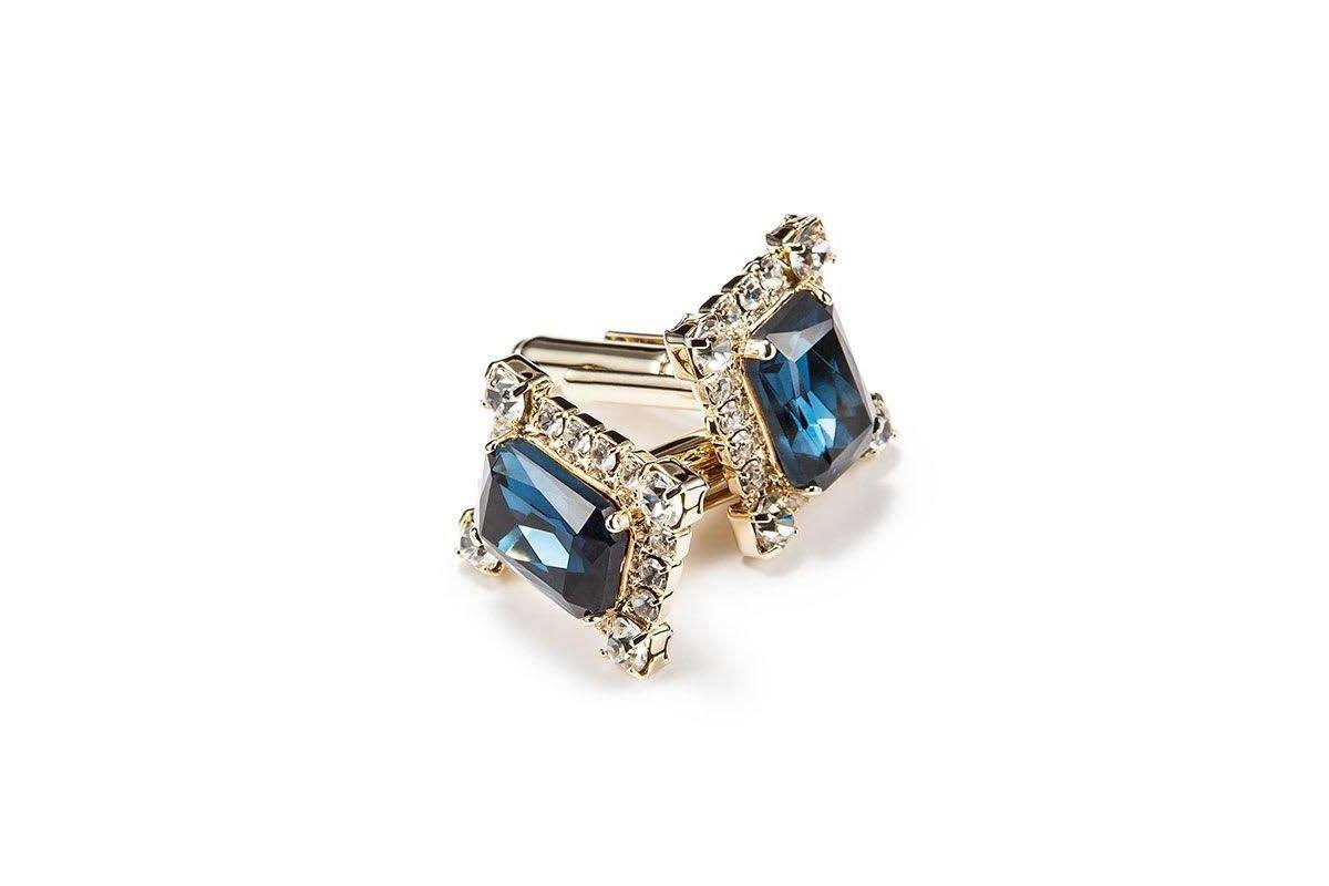 JOËL CRYSTAL NAVY CUFFLINKS