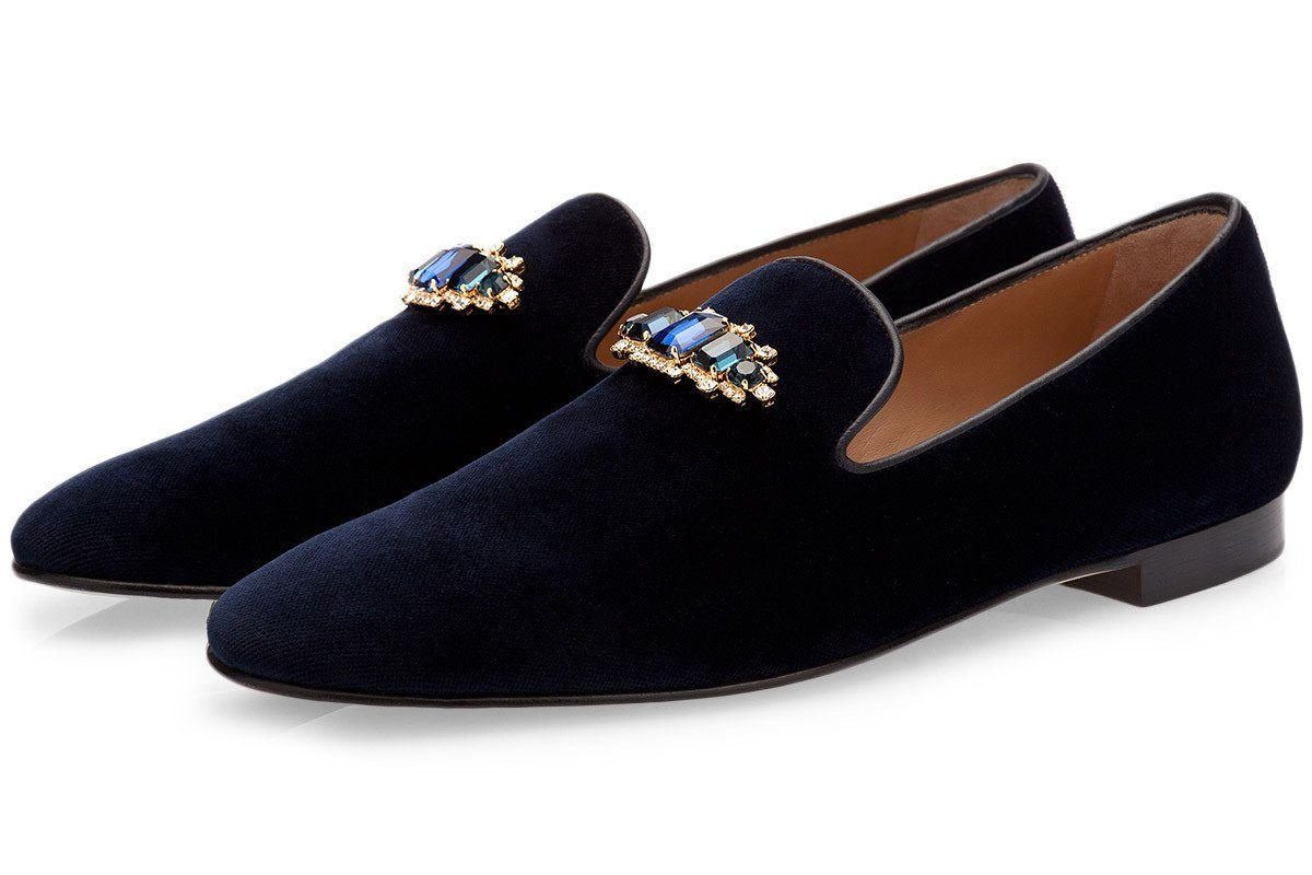 JOEL VELOUR NAVY SLIPPERS Slippers Superglamourous