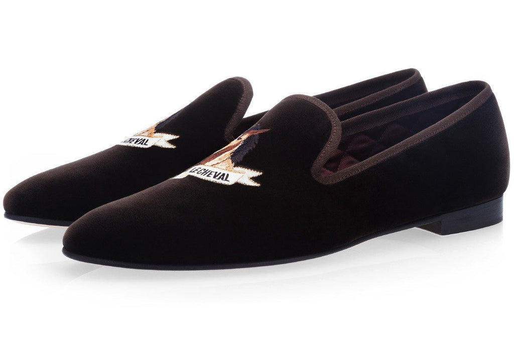 Dark brown velvet slippers with Dappled Horse