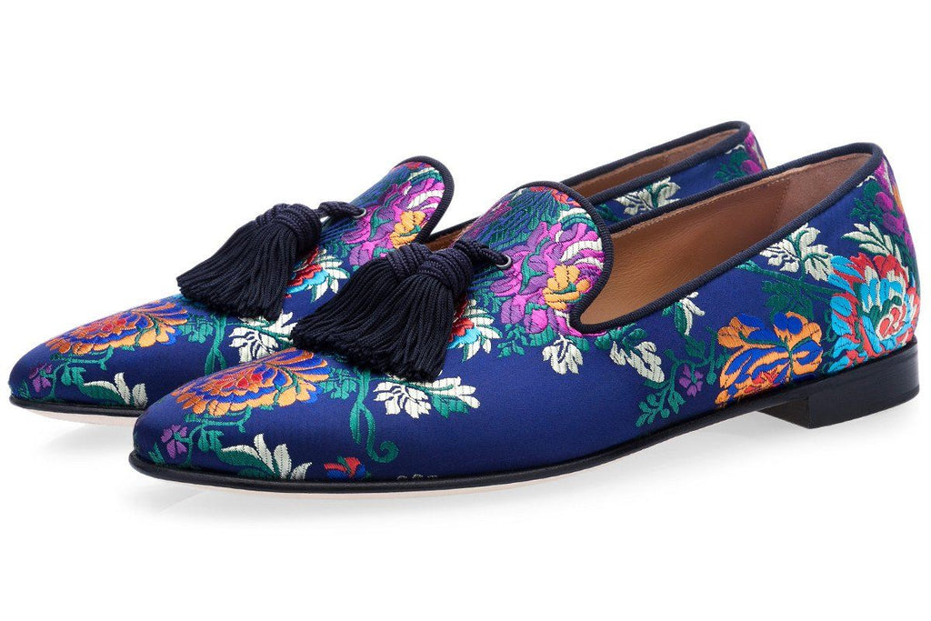 LOUIS KORELA NAVY SLIPPERS