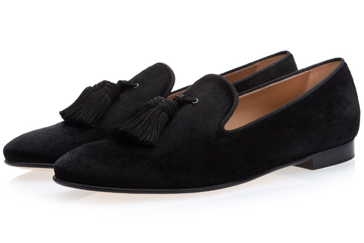 LOUIS PONY BLACK SLIPPERS