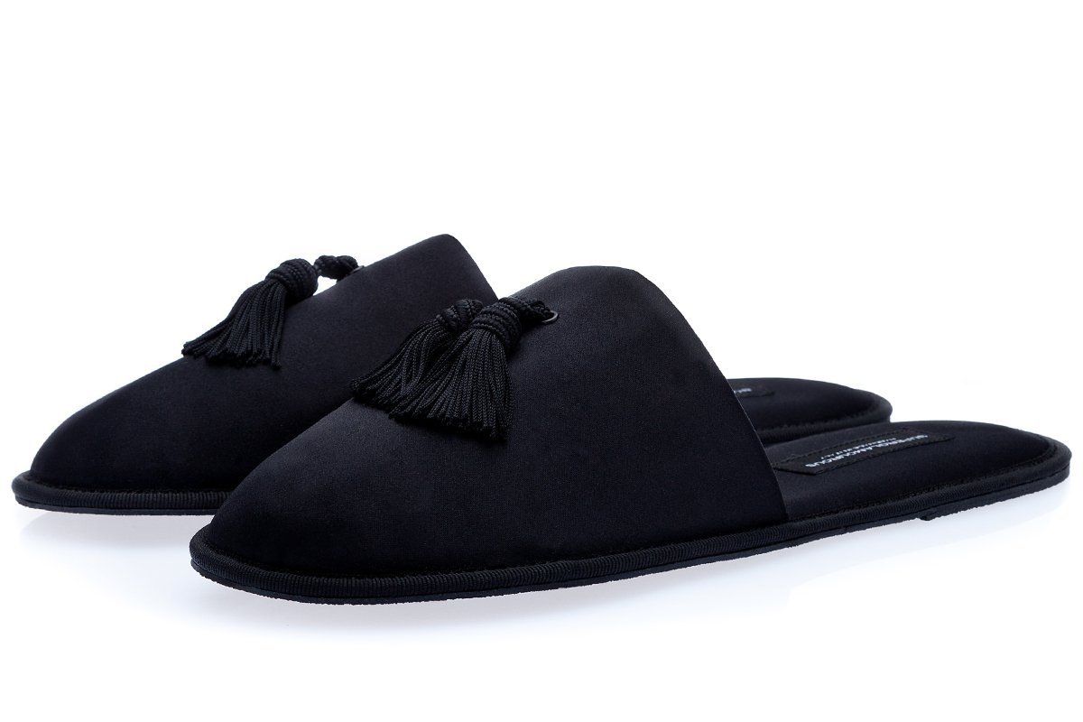 LOUIS SATIN BLACK HOME-SLIPPERS