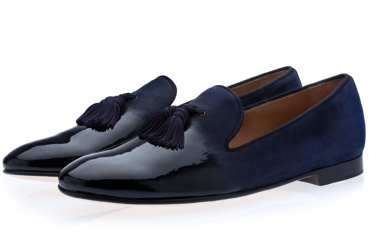 LOUIS SHINE NAVY SLIPPERS