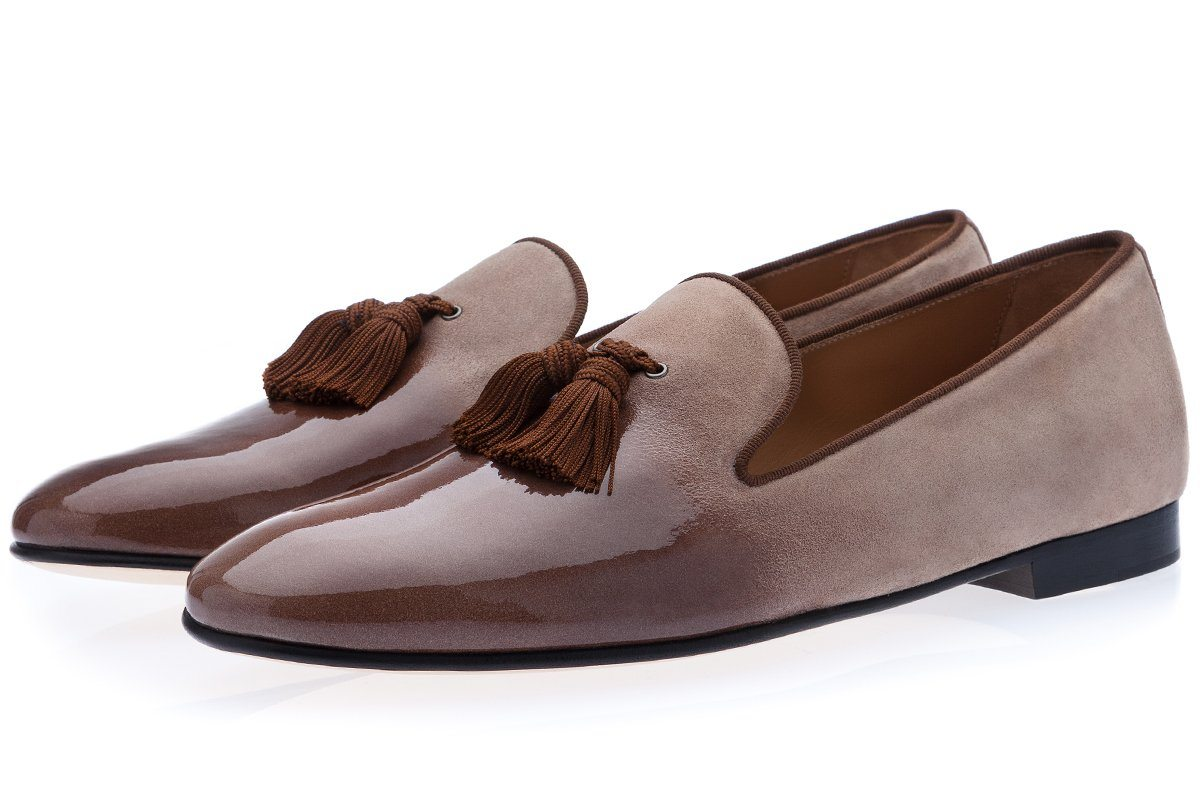 LOUIS SHINE TAUPE SLIPPERS Slippers Superglamourous