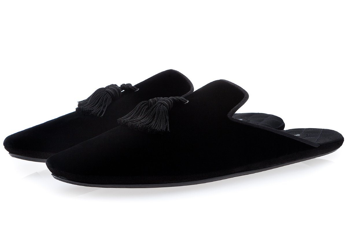 LOUIS VELOUR BLACK LOUNGE-SLIPPERS