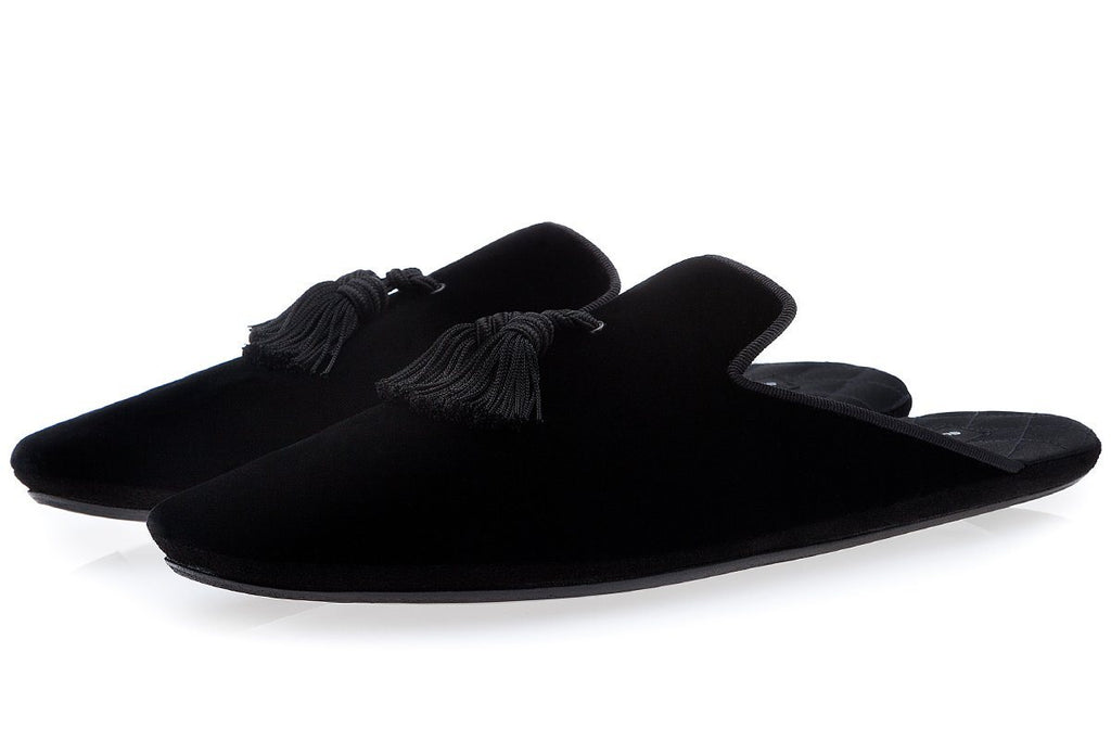 LOUIS VELOUR BLACK LOUNGE-SLIPPERS Lounge-Slippers Superglamourous