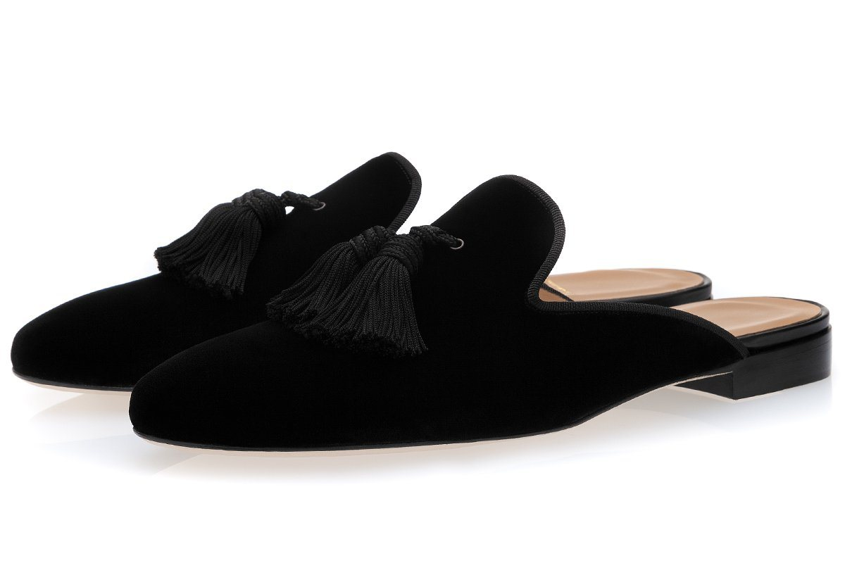 LOUIS VELOUR BLACK MULES