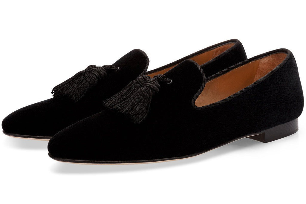 LOUIS VELOUR BLACK SLIPPERS Slippers Superglamourous