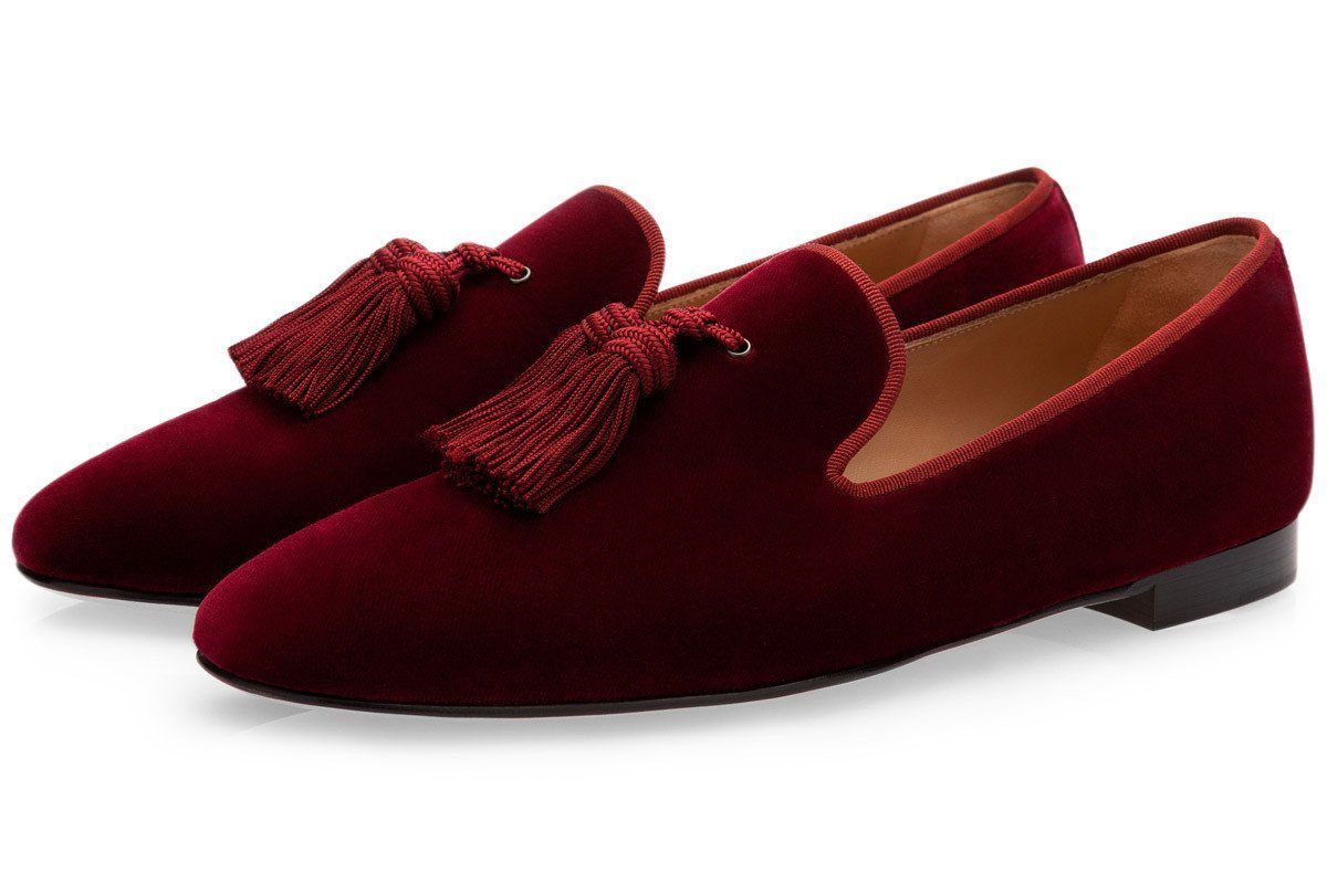 LOUIS VELOUR BURGUNDY SLIPPERS Private Sale Superglamourous