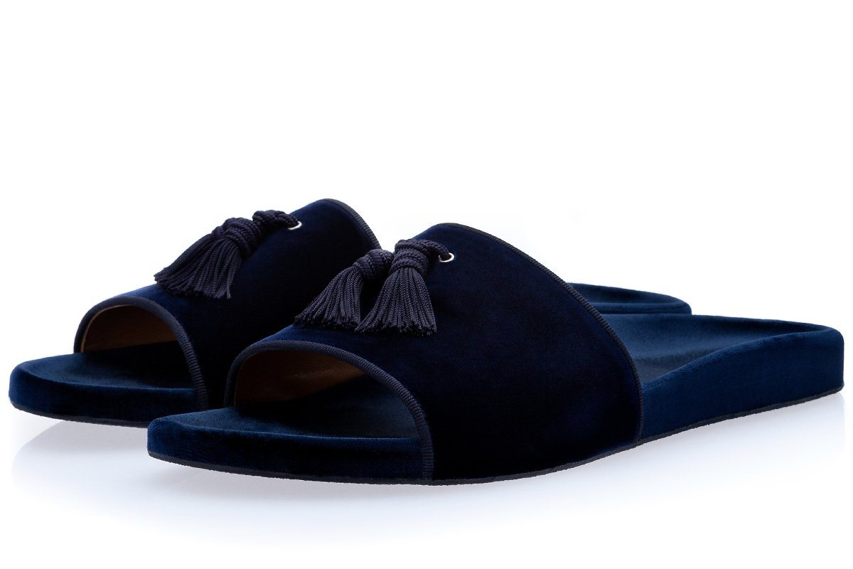 LOUIS VELOUR NAVY SLIDES Slides Superglamourous