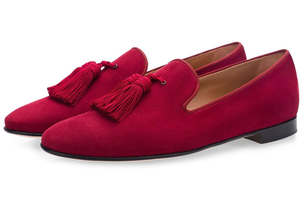 LOUIS VELUKID BURGUNDY SLIPPERS