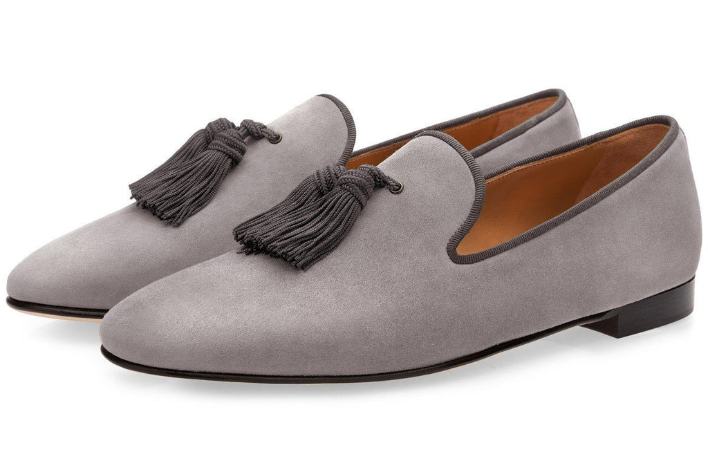 LOUIS VELUKID GREY SLIPPERS