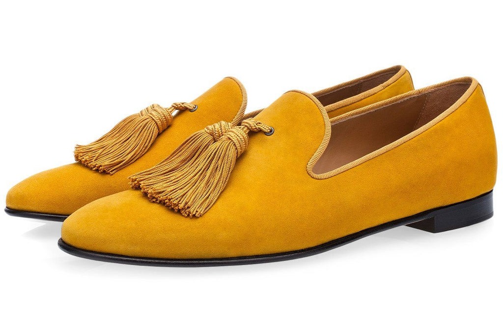 LOUIS VELUKID MUSTARD SLIPPERS
