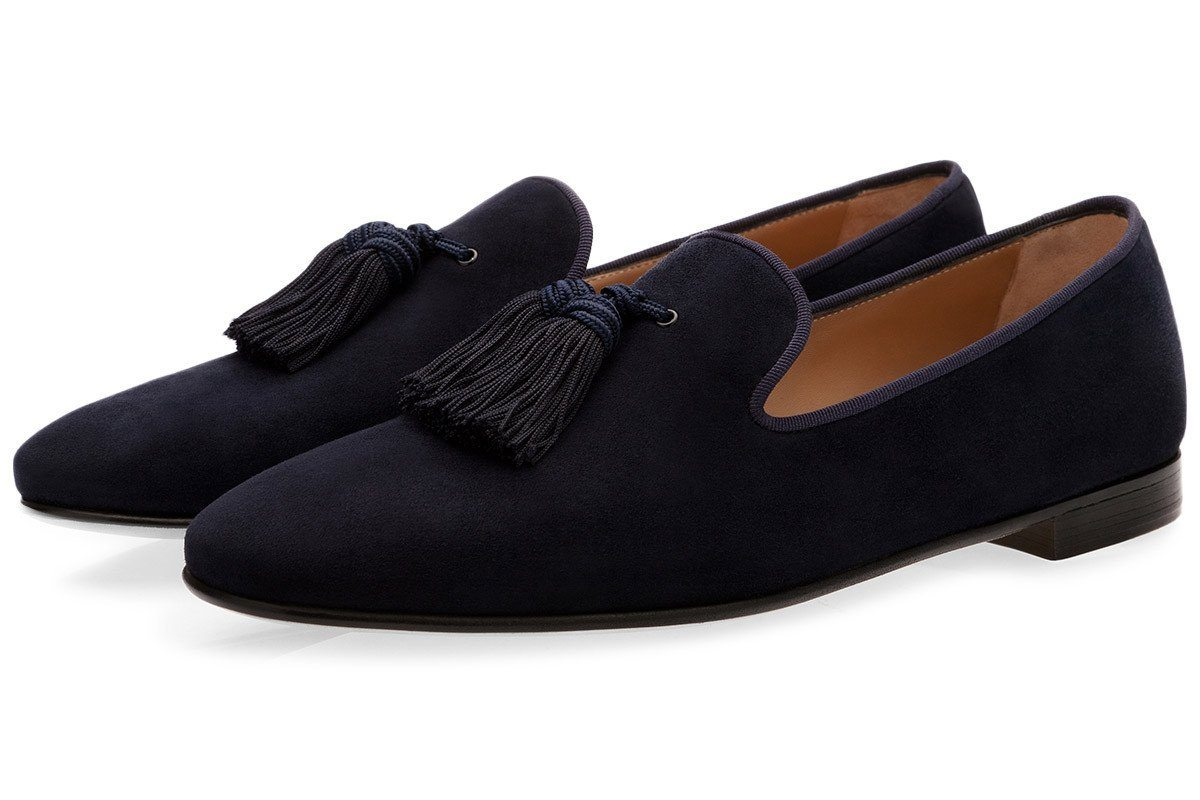LOUIS VELUKID NAVY SLIPPERS