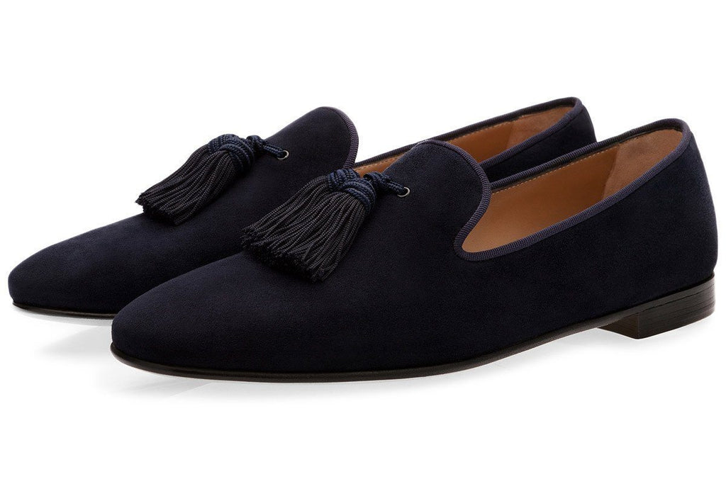 LOUIS VELUKID NAVY SLIPPERS Slippers Superglamourous