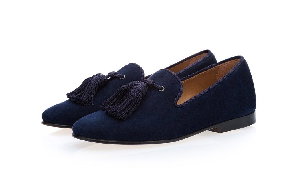 LOUIS VELUKID NAVY SLIPPERS JUNIOR