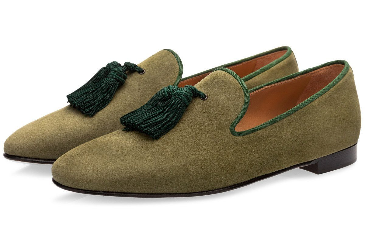 LOUIS VELUKID SAGE SLIPPERS