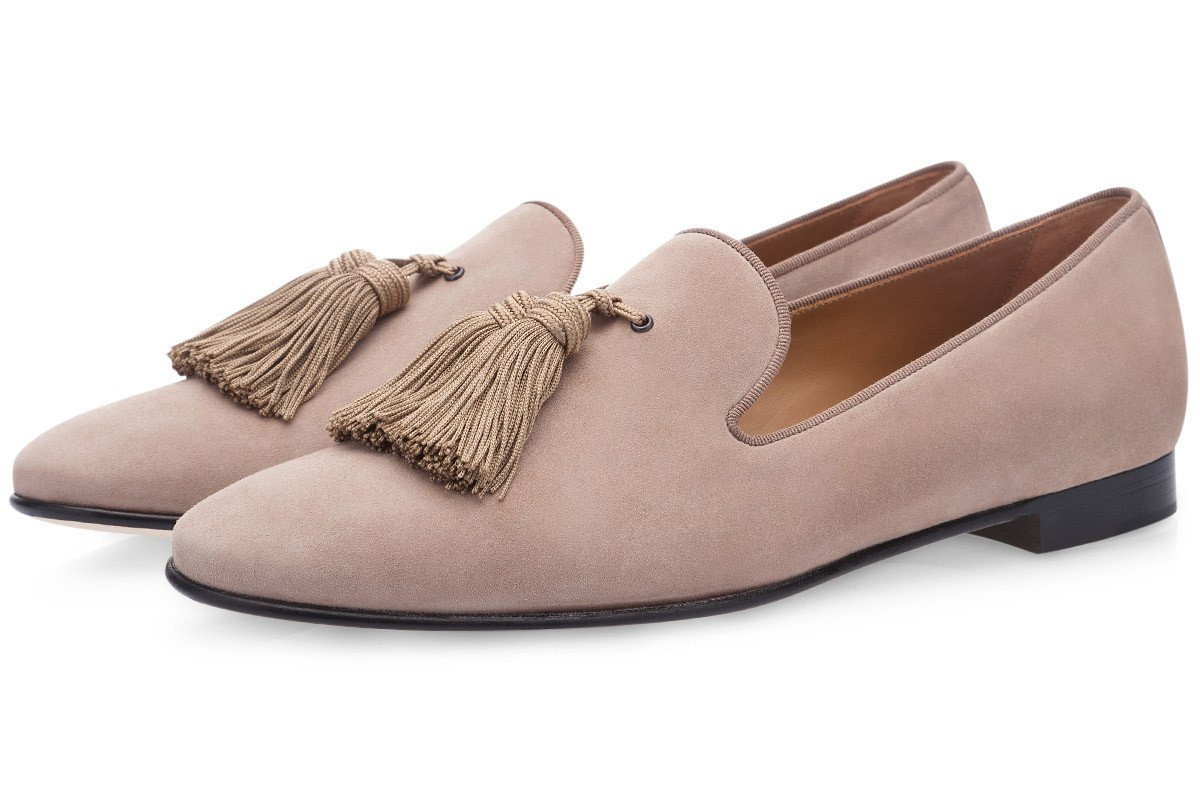 LOUIS VELUKID TAUPE SLIPPERS