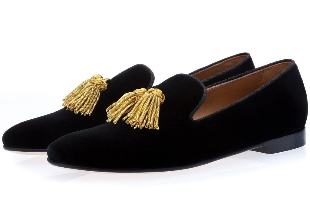 LOULUX VELOUR BLACK SLIPPERS